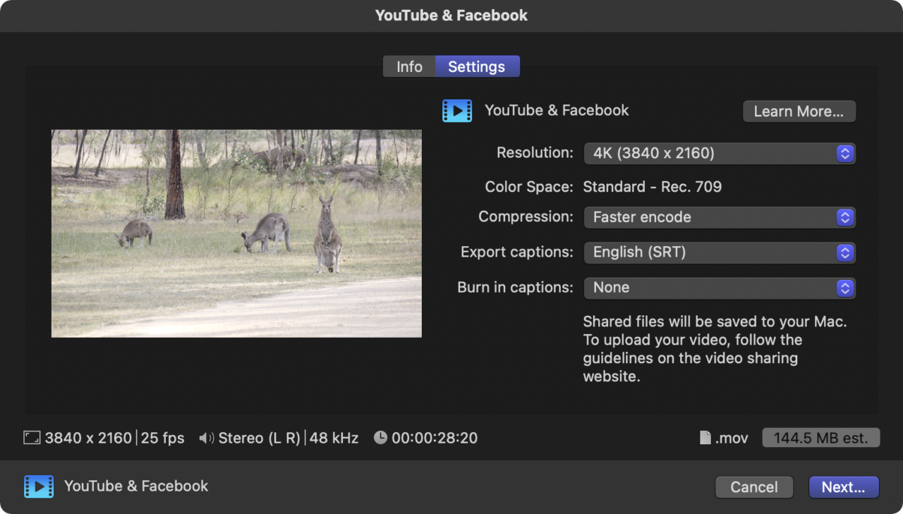 The new YouTube & Facebook export dialog